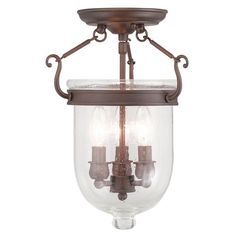 $199.90- Jefferson Imperial Bronze Seeded Glass 14-Inch Three Light Ceiling Mount-  Finish/Color: Imperial Bronze Product Width: 10 Product Depth: 10 Product Weight: 8 Product Height: 14