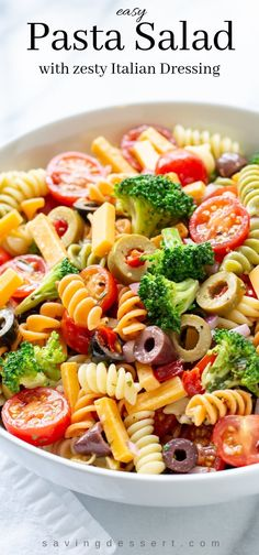 Try our Easy Pasta Salad Recipe packed with flavor and crisp fresh broccoli marinated in a homemade zesty Italian dressing. A summer classic! salad with italian dressing Tomato Pasta Salad, Easy Pasta Salad Recipe, Pasta Salad Italian, Pasta Recipes, Simple Pasta Salad, Cold Pasta Salads, Vegetarian Pasta Salad, Italian Salad Recipes, Spinach Salads