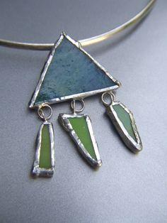 Necklace Choker Jewelry Silver Glass Green by stefaniekraus, $29.00