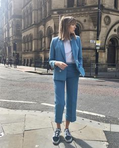"Lizzy Hadfield (@shotfromthestreet) on Instagram: ""New post on the blog!! Styling up this suit two different ways, one look for the evening and one…"""