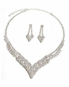 Check out our newest additions to our Amazon listings! #fashionjewelry #topwholesalejewel #bridal #Amazon Silver Crystal V Shape Necklace & Matching Heart Shape Dangle Earrings Jewelry Set