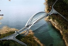 Built in the Chongqing mountain area of China, the bridge takes its form from that of a dragon. Connecting the two mountains, the Eco Bridge has a gridded roof that serves to reflect sunlight. While currently in the concept phase, it's a great collaboration of aesthetics and function.