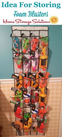 Here are ideas for Nerf storage and organization, for both large and small collections of blasters, as well as foam accessories.