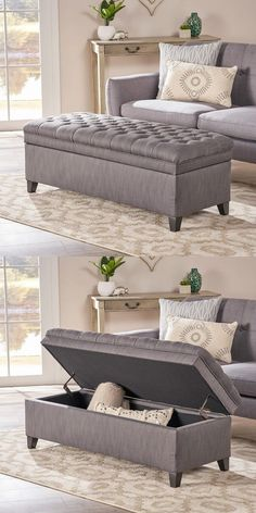 Christopher Knight Home 296933 Living Sheffield Tufted Fabric Gray Storage Ottoman 43 Storage Ottomans To Declutter and Organize Your Home Living Room Sofa Design, Ottoman In Living Room, Bedroom Bed Design, Home Room Design, Living Room Decor, Bedroom Decor, Bedroom Ottoman, Sofa For Bedroom, Bedroom Storage