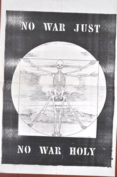 Anti-war Poster by Elsie Russell, posted all over NYC, (then image later copied illegally and used by a chain luxury department store for T-shirt design, without my permission, of course.)
