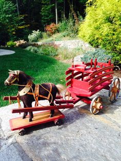 Antique Pull Horse Toy and Wooden Wagon | eBay