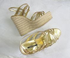 Zara Gold Strappy #Metallic Platform #Wedges #Espadrilles   #Zara #PlatformsWedges Zara Gold, Leather Espadrilles, Zara Shoes, Pumps, Heels, Metallic, Platform, Wedges, Best Deals