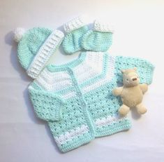 Baby sweater set 0 to 3 months Mint green baby outfit   Etsy