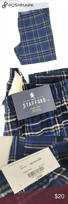 "Stafford 100% Cotton Flannel Sleep Pants Sz Large Stafford 100% Cotton Flannel Sleep Pants  New With Tags Size Large Flat lay measurements: Approx.  Waist 18.5"" Inseam 30"" Rise 13"" Stafford Pants Sweatpants & Joggers"