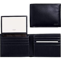 Coach 4658 Water Buffalo Leather Passcase ID Wallet, Black $149.99