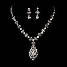 Renaissance Style Crystal Drop Jewelry Set $59.99 StressAwayBridalShop.com #shop #jewelry #vintage