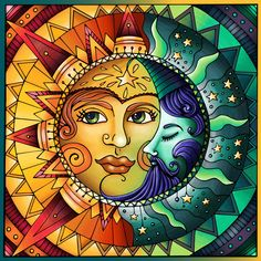 What have you colored from Sun & Moon III? Sun Moon Stars, Sun And Stars, Mutter Erde Tattoo, Sun And Moon Drawings, Sun Painting, Psy Art, Star Art, Mexican Art, Stained Glass Patterns