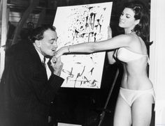 Salvador Dalí paints an abstract portrait of 25-year-old Raquel Welch