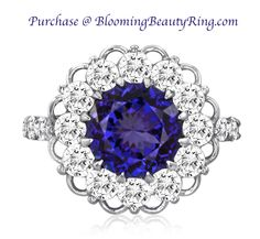 Platinum Tanzanite And Diamond Halo Ring With Delicate Lace Popular Engagement Rings, Engagement Ring Styles, Gemstone Colors, Gemstone Rings, Tanzanite Jewelry, Right Hand Rings, Champagne Diamond, Anniversary Rings, Tanzania