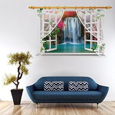 3D Window View Wall Sticker Oksale 354 x 236 Inch PVC Wallpaper Home Room Decor Decals Removable Applique Papers Mural 4 >>> Learn more by visiting the image link.