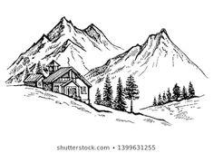 Mountains Landscape Sketch River Flow Alpine Stock Vector (Royalty Free) 1061458457 - Hans Moser - Re-Wilding Landscape Sketch, Art Drawings Simple, River Drawing, Art Drawings, Pencil Sketches Landscape, Nature Drawing, Art, Landscape Pencil Drawings, Mountain Drawing