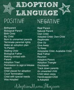 Using positive adoption language is beneficial for not only those involved in the adoption plan but anyone else who may be over hearing our conversations. Our words impact others.