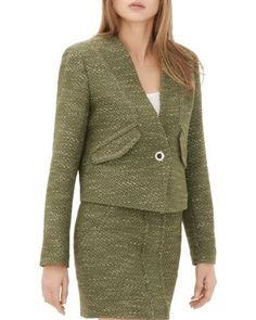 Sandro Val Tweed Blazer | Cotton/acrylic/polyester/polyamide/viscose; lining: viscose; secondary lining: cotton | Dry clean | Imported | Fits small, order one size up | Designed for a slim fit | V-nec