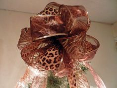 Lg Christmas Tree topper bow made with a  Leopard, zebra and peacock animal print ribbons by creativelycarole on Etsy