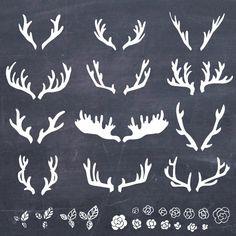 12 Hand Drawn Antlers Clip Art // Photoshop par thePENandBRUSH