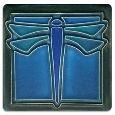 Shop Art Nouveau Ceramic Tile - Dragonfly Blue created by LifestyleNow. Personalize it with photos & text or purchase as is! Azulejos Art Nouveau, Art Nouveau Tiles, Arts And Crafts Movement, High Fantasy, Stencil, Tile Projects, Art And Craft Design, Tile Art, Tile Painting