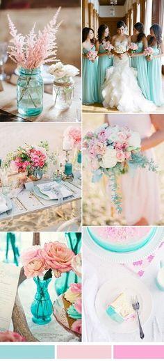 Aqua and pink wedding color palette idea for spring summer 2017