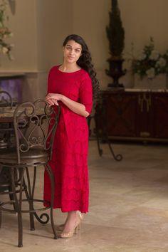 A Night in Paris (Red) | Dainty Jewell's Designs | Modest Fashion | Bridesmaid Dresses | Weddings | Ruffles Lace Bows Stripes Chevron Polka-Dot Paisley Houndstooth | www.daintyjewells.com