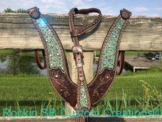 Antique turquoise inlay, Swarovski crystals, copper studs.