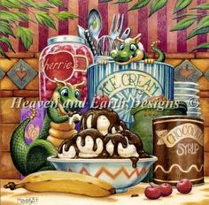 Sundae Delight - Spangler - Finished Design Size 400 W by 394 H (16 W X 15-3/4 inches on 25ct)