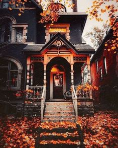 Autumn Scenery, Autumn Cozy, Autumn Fall, Autumn Aesthetic, Fall Wallpaper, Wallpaper Desktop, Fall Pictures, Autumn Inspiration, Victorian Homes