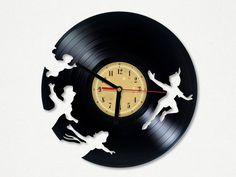 Vinyl Clock - Peter Pan. Upcycling product made from vinyl records. Cool gift ideas for music lovers.