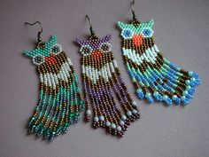 Nicole Miller New York Green Beaded Tassel Drop Leopard Print Triangle Dangle Earrings – Fine Jewelry & Collectibles Beaded Earrings Patterns, Seed Bead Patterns, Beading Patterns, Owl Earrings, Seed Bead Art, Seed Bead Jewelry, Seed Bead Earrings, Beaded Animals, Bead Earrings