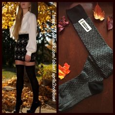 BLACK BOOT SOCKS Tall Over The Knee Tall Over The Knee Boot Socks   NEW WITH TAGS   * Super soft knit fabric w/chevron print detail;Fall/winter weight warmth.  * Over the knee length w/ribbed contrasting cuffs  * Stretch-to-fit style; Tagged one size fits most  ***Solid color socks in the same style in the photos above are shown for styling purposes only.  Fabric: 80% Polyester, 17% nylon, 3% Spandex  Color: Black & Charcoal Grey 91300  No Trades ✅ Bundle Discounts✅ Boutique Accessories…