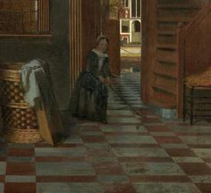 Interior with Women beside a Linen Cupboard, Pieter de Hooch, 1663 - Daily life (paintings) - Works of art - Explore the collection - Rijksmuseum