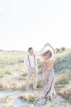 Topsail Beach engagement session, North Carolina wedding photographer, Wilmington wedding photographer, ocean engagement session, flowy beach dress, beach engagement dress, North Carolina film photographer