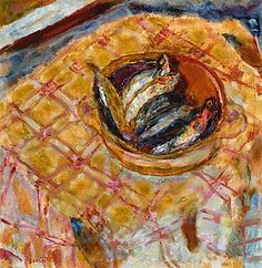 """Pierre Bonnard, """"Still Life of Sardines in a Ceramic Dish on a Table, 1940"""