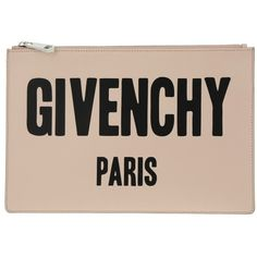 Givenchy Evening Bag - Iconic Print Pouch Nude Pink - in beige, black... ($440) ❤ liked on Polyvore featuring bags, handbags, leather zipper pouch, leather hand bags, pink purse, pink leather purse and leather pouch