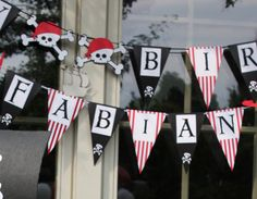 Black Red & White Pirate Party Happy Birthday by JesParkerEvents