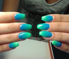 Green and blue ombre nail design