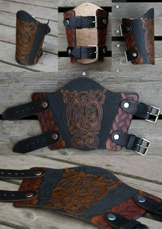 Leather Bracer Oseberg by *Wodenswolf on deviantART Leather Bracers, Leather Cuffs, Leather Tooling, Leather Accessories, Leather Jewelry, Crea Cuir, Arm Guard, Cosplay Armor, Leather Pattern