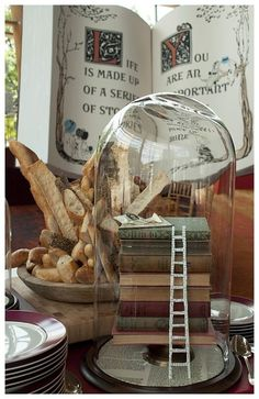love the tiny ladder in this cloche vignette The Bell Jar, Glass Bell Jar, Bell Jars, Glass Dome Display, Glass Domes, Cloche Decor, Princess And The Pea, Shabby Chic, Apothecary Jars