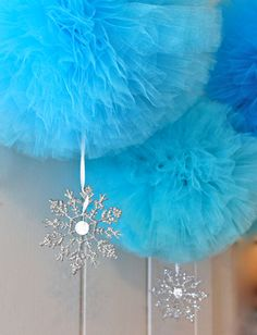 "Frozen Winter Wonderland Pom Pom with Snowflake Ornament - 12"" Hanging Decoration on Etsy, $12.00"