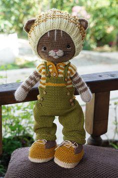 "Crochet pattern ""Farmer Boy Outfit"" for Cat Toys by Polushkabunny crochet diy pattern cat doll Diy Crochet Doll, Diy Crochet Patterns, Crochet Doll Pattern, Crochet Toys, Crochet Projects, Cat Crochet, Stuffed Animal Patterns, Diy Stuffed Animals, Diy Doll Costume"