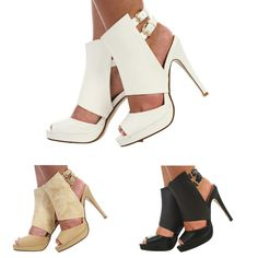 WOMENS LADIES PEEPTOE PLATFORM ANKLE STRAP STILETTO HIGH HEEL SHOES SIZE 3-8 #CoreCollection #StrappyAnkleStraps #Party