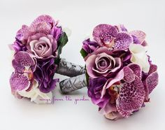 Orchids Roses Hydrangea Wedding Flower Package Bridesmaid Bouquet Real Touch Roses Roses Hydrangea Plum Purple Ivory