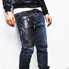 DFine Lifestyle Zipper Leather Patch Slim Baggy Biker-Jeans