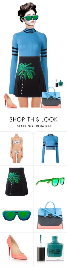 """""""Nuna"""" by xemrahv ❤ liked on Polyvore featuring ONIA, Versace, FAUSTO PUGLISI, Angelo, Earth, Dax Gabler, Christian Louboutin and RGB"""