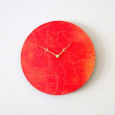 Unique Wall Clock, Orange Decor, Home and Living, Decor & Housewares, Living Room Decor, Unique Gift