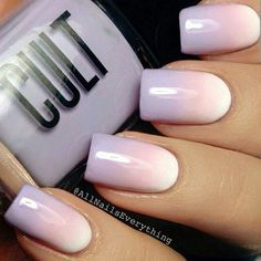 ombre spring nails, white coral and lavender!