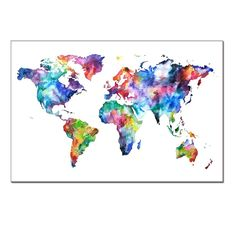 Amazon.com: World Map Canvas Art, Water color map Poster Printed on Canvas with Frame Ready Hanging On, 3 Panel Canvas Art, world Map Decal, home Wall Decoration, framed and Stretched, ready to Hang On: Posters & Prints
